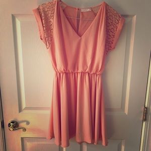 Lush small peach dress lace detail elastic waist